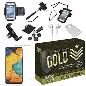Kit Gold Galaxy A20 com 8 Acessórios - Armyshield