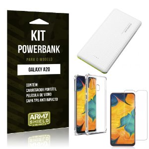 Kit Carregador Portátil 10K Tipo C Galaxy A20 Powerbank + Capa Anti Impacto + Película - Armyshield