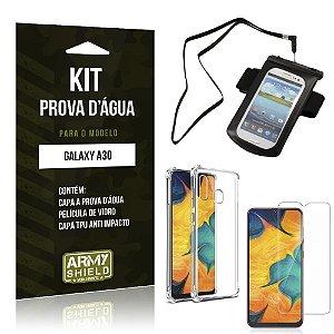 Kit Prova D'água Galaxy A30 Capinha a Prova D'água + Capinha Anti Impacto + Película - Armyshield