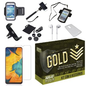 Kit Gold Galaxy A30 com 8 Acessórios - Armyshield