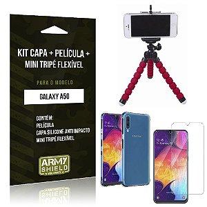 Kit Mini Tripé Flexível Galaxy A50 Tripé + Capinha Anti Impacto + Película de Vidro - Armyshield