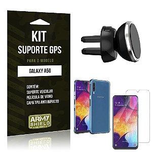 Suporte Veicular Magnético Galaxy A50 + Capinha Anti Impacto + Película de Vidro - Armyshield