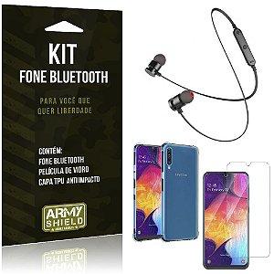 Kit Fone Bluetooth Sport 901 Galaxy A50 Fone + Capinha Anti Impacto + Película de Vidro - Armyshield