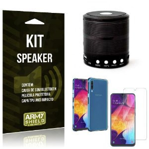 Kit Mini Speaker Galaxy A50 Caixa de Som Bluetooth + Capa Anti Impacto + Película Vidro - Armyshield