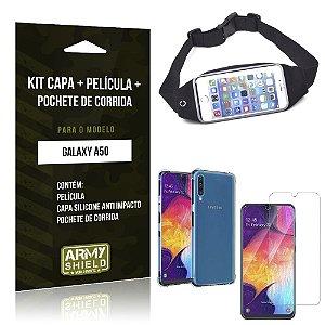 Kit Pochete Galaxy A50 Pochete + Capinha Anti Impacto + Película de Vidro - Armyshield