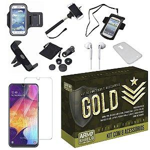 Kit Gold Galaxy A50 com 8 Acessórios - Armyshield