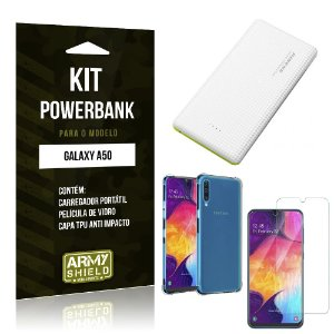Kit Carregador Portátil 10K Tipo C Galaxy A50 Powerbank + Capa Anti Impacto + Película - Armyshield