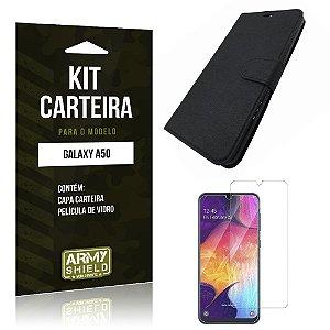 Kit Capinha Carteira Galaxy A50 Capinha Carteira + Película de Vidro - Armyshield