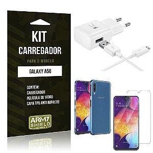 Kit Carregador Tipo C Galaxy A50 Carregador + Capinha Anti Impacto + Película de Vidro - Armyshield