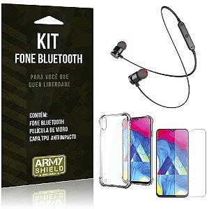 Kit Fone Bluetooth Sport 901 Galaxy M10 Fone + Capinha Anti Impacto + Película de Vidro - Armyshield