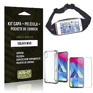 Kit Pochete Galaxy M10 Pochete + Capinha Anti Impacto + Película de Vidro - Armyshield