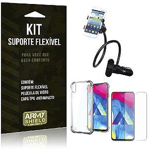 Kit Suporte Flexível Galaxy M10 Suporte + Capinha Anti Impacto + Película de Vidro - Armyshield