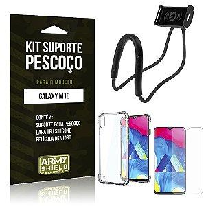 Kit Suporte Pescoço Galaxy M10 Suporte + Capinha Anti Impacto + Película de Vidro - Armyshield