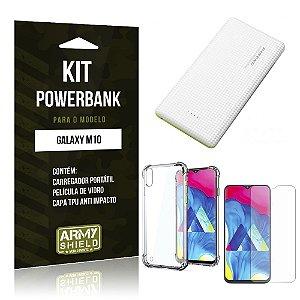 Kit Carregador Portátil 10K Galaxy M10 Powerbank+ Capinha Anti Impacto + Película Vidro - Armyshield