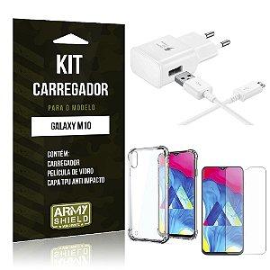 Kit Carregador Galaxy M10 Carregador + Capinha Anti Impacto + Película de Vidro - Armyshield