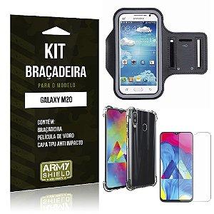 Kit Braçadeira Galaxy M20 Braçadeira + Capinha Anti Impacto + Película de Vidro - Armyshield