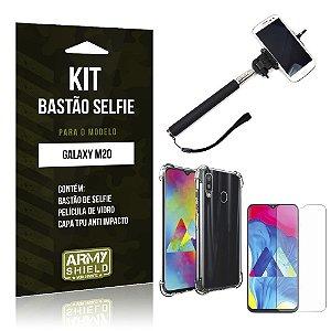 Kit Bastão de Selfie Galaxy M20 Bastão + Capinha Anti Impacto + Película de Vidro - Armyshield