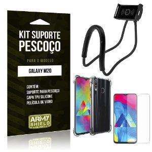 Kit Suporte Pescoço Galaxy M20 Suporte + Capinha Anti Impacto + Película de Vidro - Armyshield