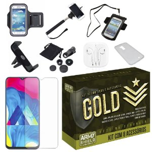 Kit Gold Galaxy M20 com 8 Acessórios - Armyshield