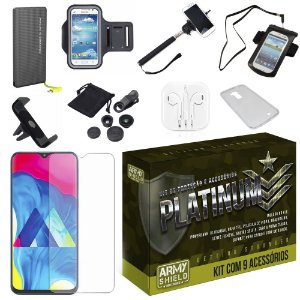 Kit Platinum Tipo C Galaxy M20 com 9 Acessórios - Armyshield