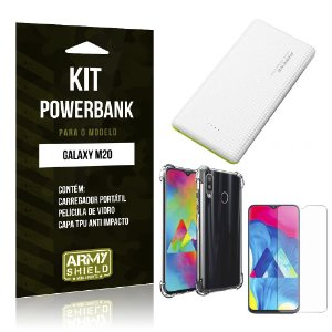 Kit Carregador Portátil 10K Tipo C Galaxy M20 Powerbank + Capa Anti Impacto + Película - Armyshield