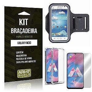 Kit Braçadeira Galaxy M30 Braçadeira + Capinha Anti Impacto + Película de Vidro - Armyshield