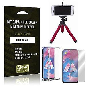 Kit Mini Tripé Flexível Galaxy M30 Tripé + Capinha Anti Impacto + Película de Vidro - Armyshield