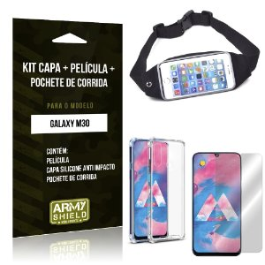 Kit Pochete Galaxy M30 Pochete + Capinha Anti Impacto + Película de Vidro - Armyshield