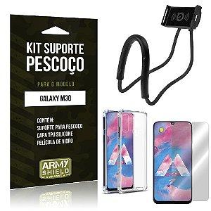Kit Suporte Pescoço Galaxy M30 Suporte + Capinha Anti Impacto + Película de Vidro - Armyshield