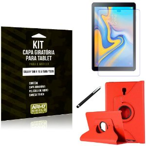 Kit Capa Giratória Vermelha Galaxy Tab A 10.5 T590/T595 Capa Verm + Película + Caneta - Armyshield