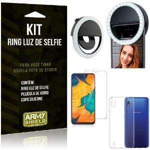 Ring Luz de Selfie Samsung Galaxy A10 Flash Ring + Capa Silicone + Película Vidro - Armyshield