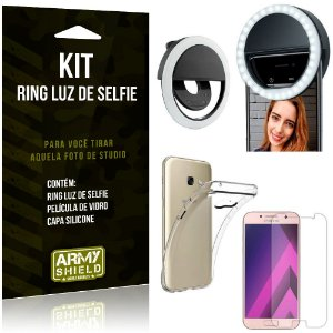 Ring Luz de Selfie Samsung Galaxy A3 (2017) Flash Ring + Capa Silicone + Película Vidro - Armyshield
