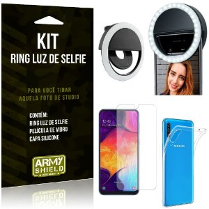 Ring Luz de Selfie Samsung Galaxy A50 Flash Ring + Capa Silicone + Película Vidro - Armyshield