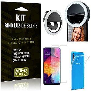 Ring Luz de Selfie Samsung Galaxy A50 Flash Ring + Capa Silicone + Película Vidro - Armyshield