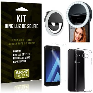 Ring Luz de Selfie Samsung Galaxy A5 (2017) Flash Ring + Capa Silicone + Película Vidro - Armyshield