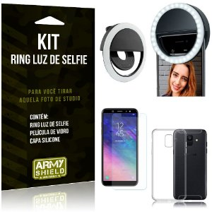 Ring Luz de Selfie Samsung Galaxy A6 Flash Ring + Capa Silicone + Película Vidro - Armyshield