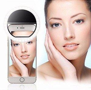 Ring Luz de Selfie Samsung Galaxy A8 Flash Ring + Capa Silicone + Película Vidro - Armyshield