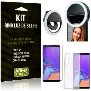 Ring Luz de Selfie Samsung Galaxy A9 (2018) Flash Ring + Capa Silicone + Película Vidro - Armyshield