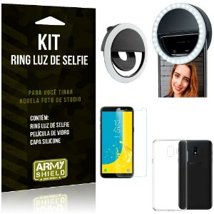 Ring Luz de Selfie Samsung Galaxy J4 (2018) Flash Ring + Capa Silicone + Película Vidro - Armyshield