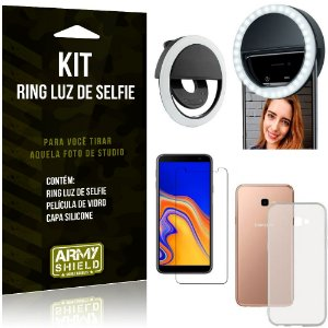 Ring Luz de Selfie Samsung Galaxy J4 Plus (2018) Flash Ring + Capa + Película Vidro - Armyshield