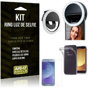 Ring Luz de Selfie Samsung Galaxy J5 Pro (2017) Flash Ring + Capa + Película Vidro - Armyshield