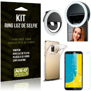 Ring Luz de Selfie Samsung Galaxy J6 (2018) Flash Ring + Capa Silicone + Película Vidro - Armyshield