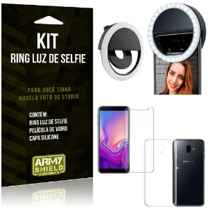 Ring Luz de Selfie Samsung Galaxy J6 Plus (2018) Flash Ring + Capa + Película Vidro - Armyshield