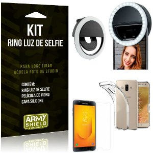 Ring Luz de Selfie Samsung Galaxy J7 Duo (2018) Flash Ring + Capa + Película Vidro - Armyshield