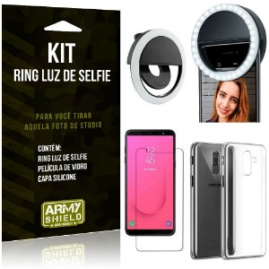 Ring Luz de Selfie Samsung Galaxy J8 (2018) Flash Ring + Capa Silicone + Película Vidro - Armyshield
