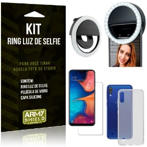 Ring Luz de Selfie Samsung Galaxy M10 Flash Ring + Capa Silicone + Película Vidro - Armyshield