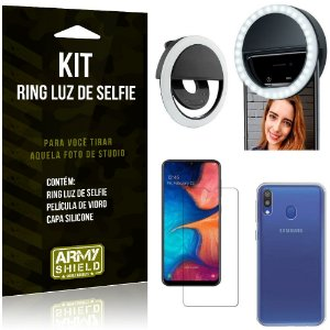 Ring Luz de Selfie Samsung Galaxy M20 Flash Ring + Capa Silicone + Película Vidro - Armyshield