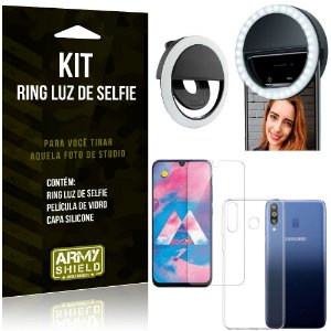 Ring Luz de Selfie Samsung Galaxy M30 Flash Ring + Capa Silicone + Película Vidro - Armyshield