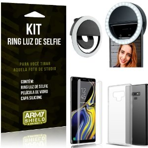 Ring Luz de Selfie Samsung Galaxy Note 9 Flash Ring + Capa Silicone + Película Vidro - Armyshield