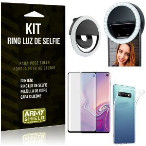 Ring Luz de Selfie Samsung Galaxy S10 Flash Ring + Capa Silicone + Película Vidro - Armyshield
